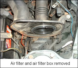 Air filter and air filter box removed